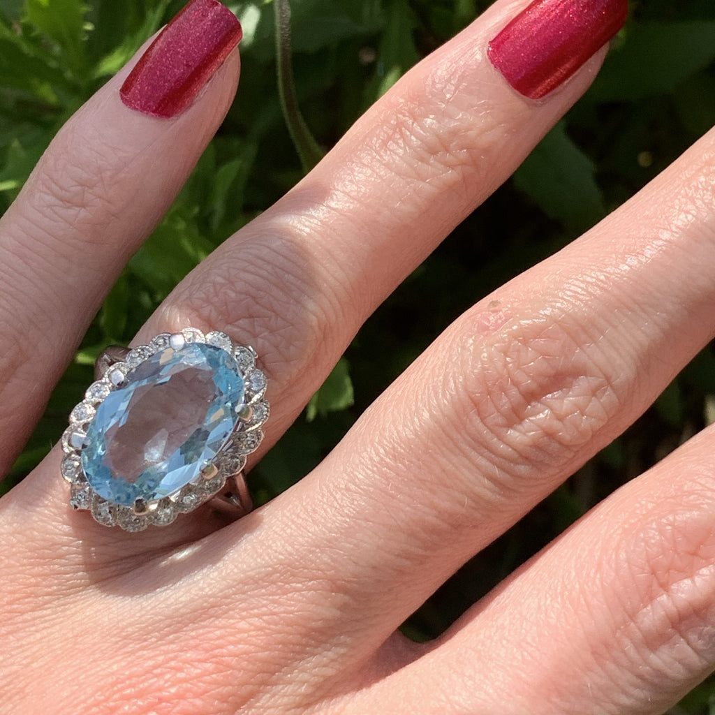 10 Carat Aquamarine and Diamond Ring in 18K White Gold