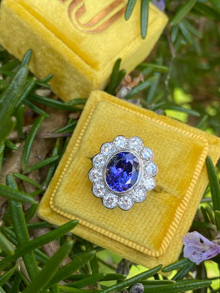 3.25 Tanzanite and Diamond Cluster Ring