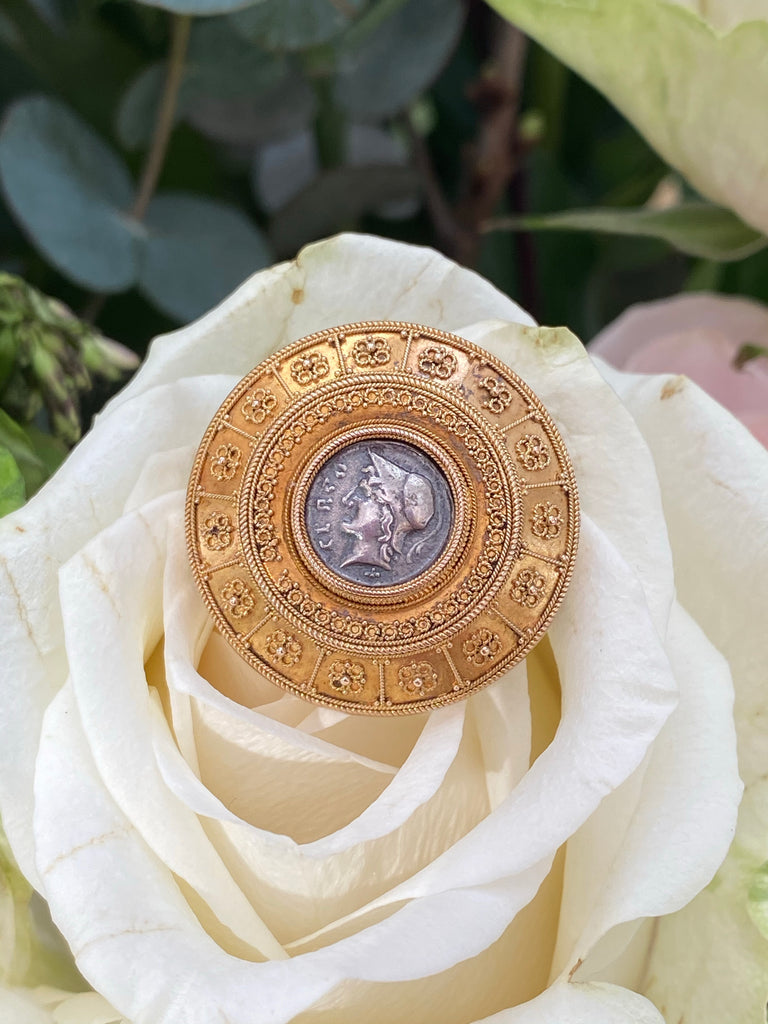 Antique Victorian Coin Brooch in Yellow Gold