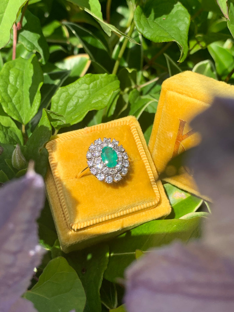 1.00 Carat Colombian Emerald and Diamond Halo Ring in 18K Gold