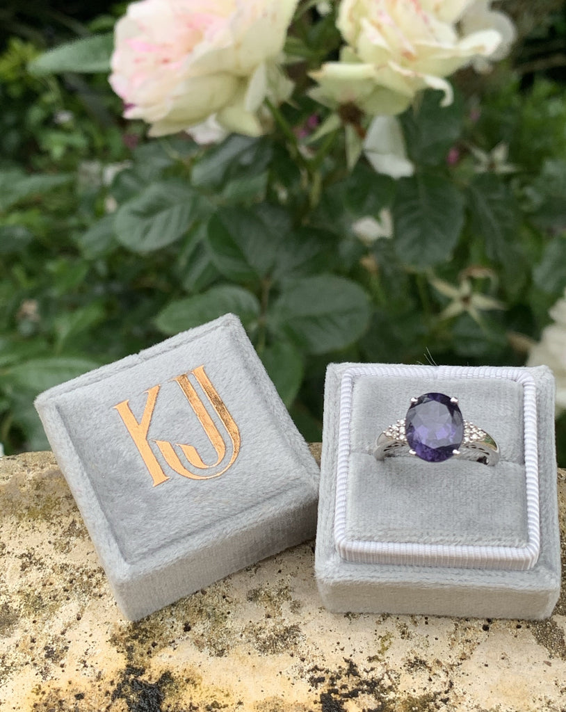 3.00 Carat Iolite and Diamond Ring in 18K White Gold