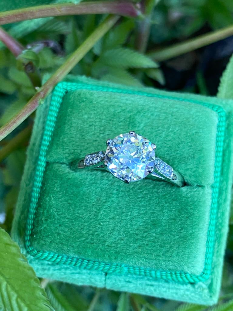 Gorgeous 2.01ct + 0.20ct Solitaire Engagement Ring