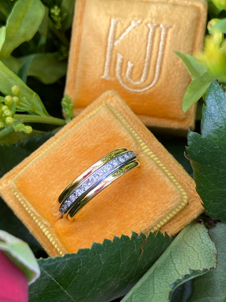 Vintage Diamond Full Eternity Spinner Ring in 18K Yellow and White Gold