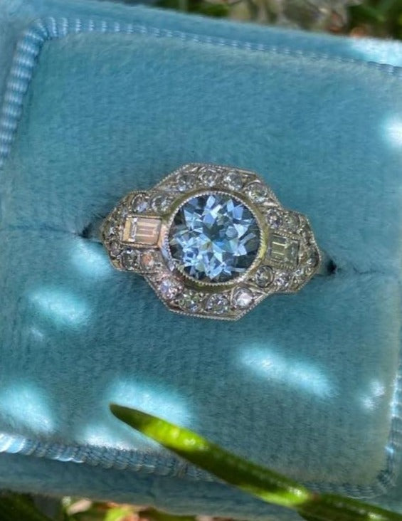 Beautiful Deco Aquamarine and Diamond Engagement Ring