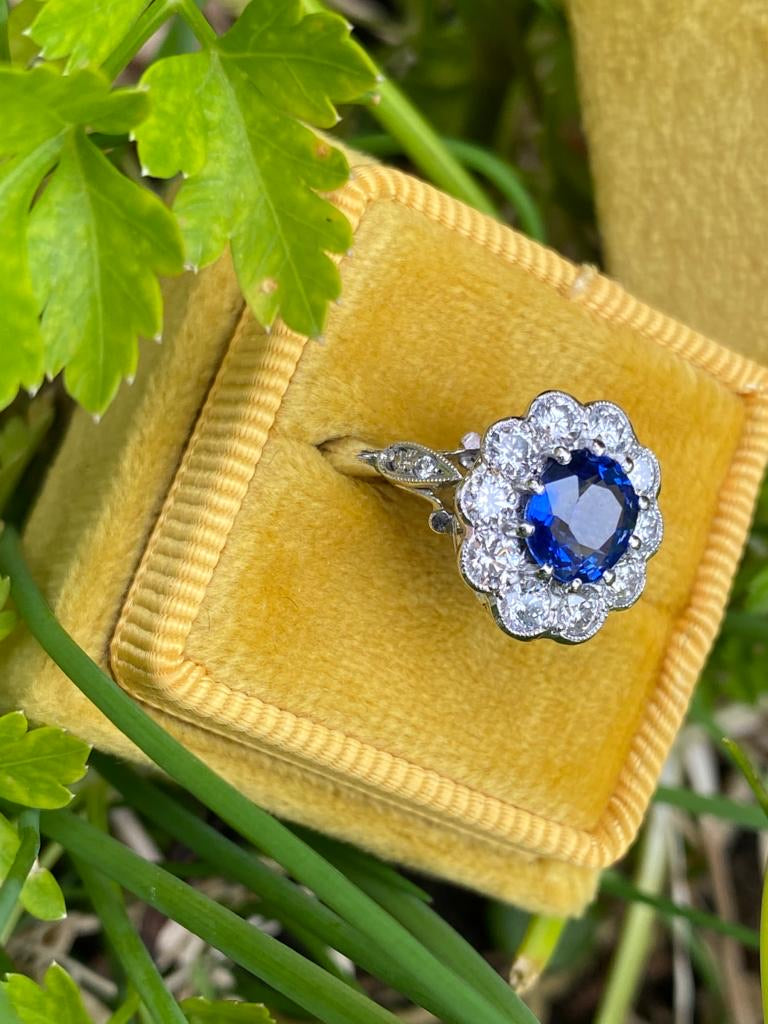 1.65 Carat Blue Ceylon Sapphire and Diamond Ring in Platinum