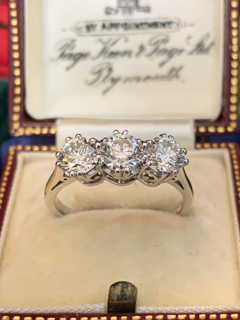 Breathtaking 1.63ct Diamond Trilogy Engagement Ring