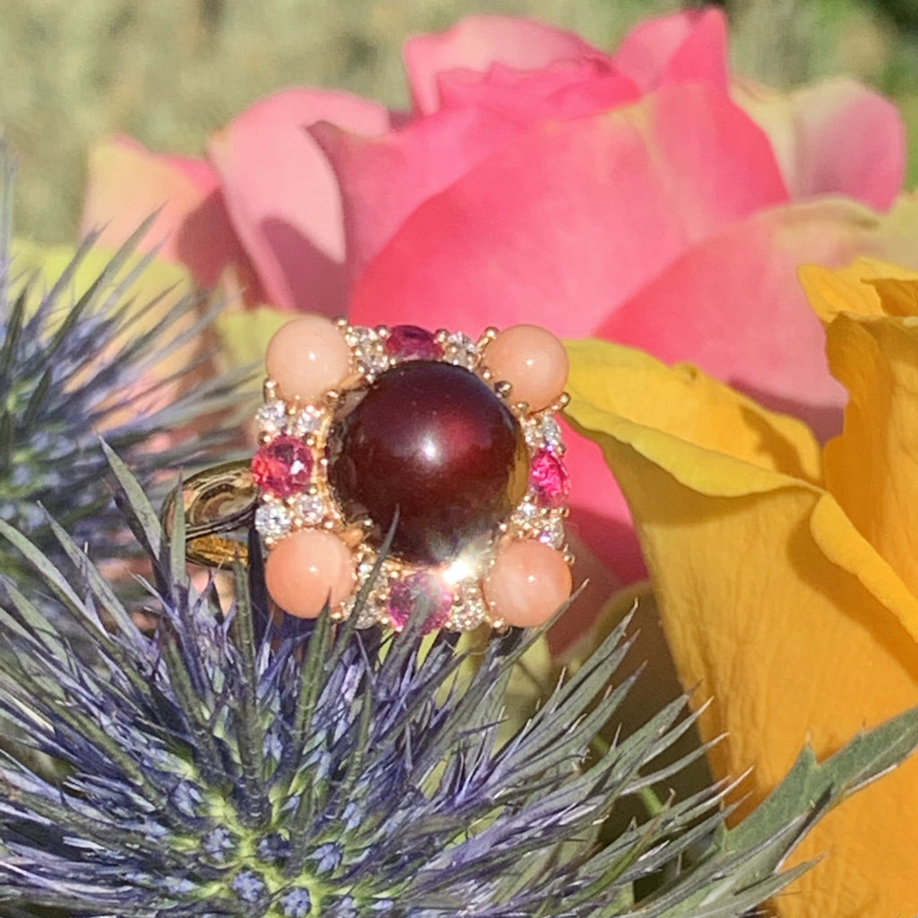Garnet Cabochon, Diamond, Ruby and Coral Cocktail Ring in Yellow Gold