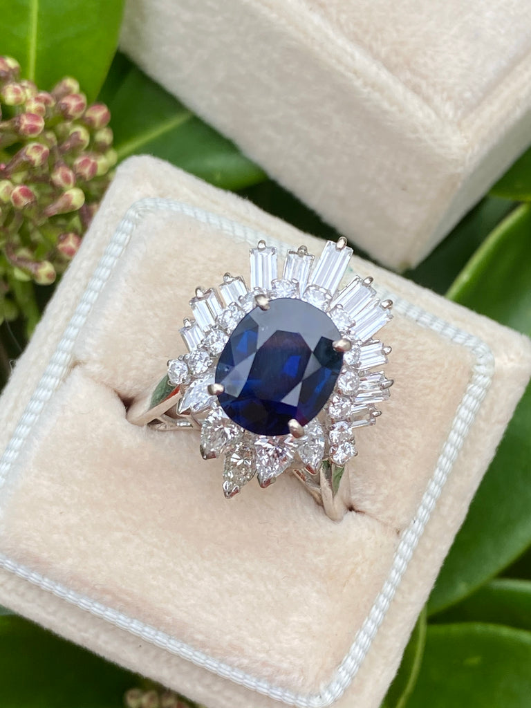 Katherine James Jewellery Blue Sapphire and Diamond Art Deco Engagement Ring
