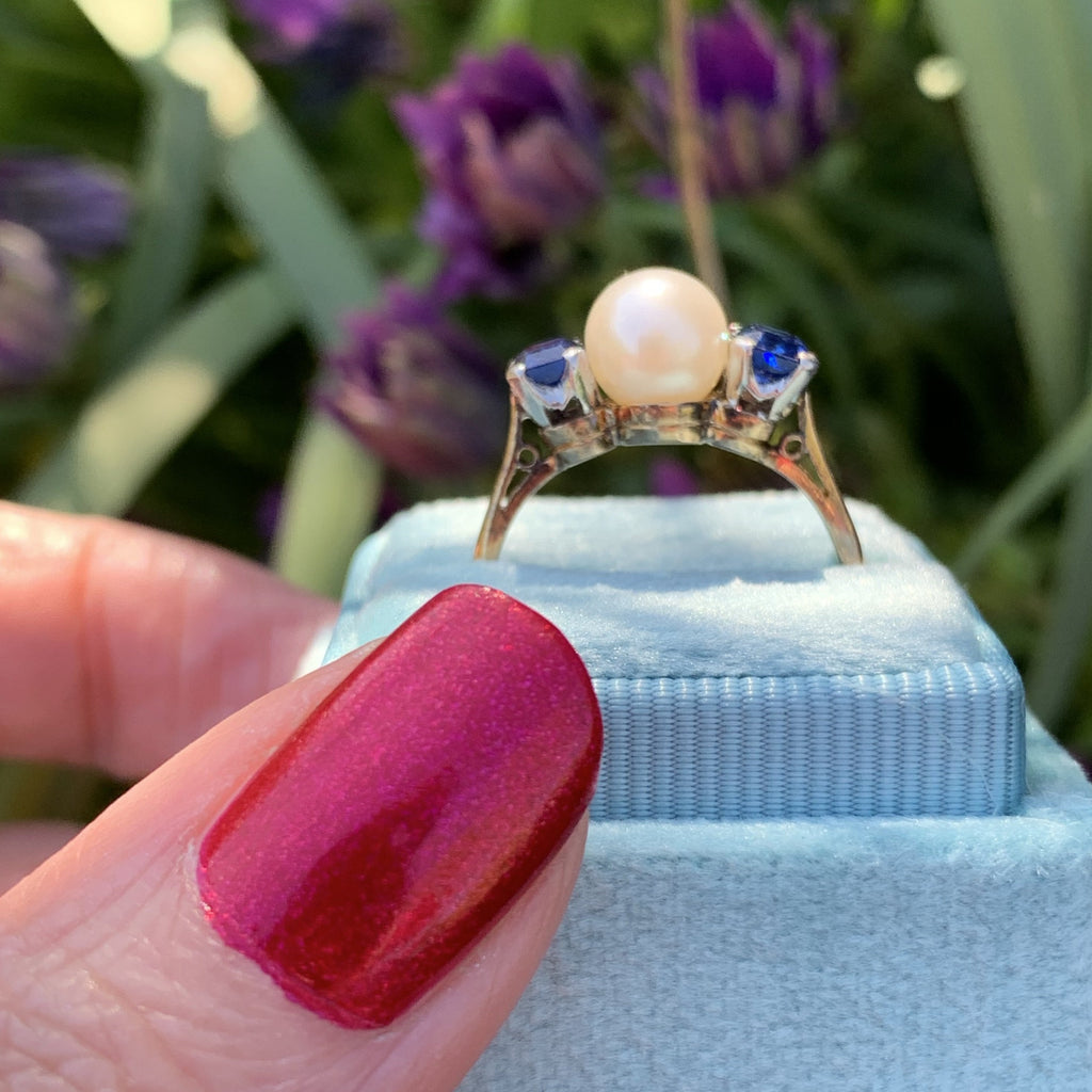 Pearl and Blue Ceylon Sapphire Ring in Platinum and 18K Gold