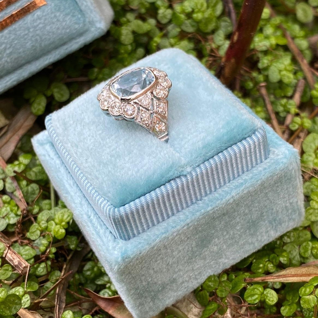 Beautiful Deco Aquamarine and Diamond Ring
