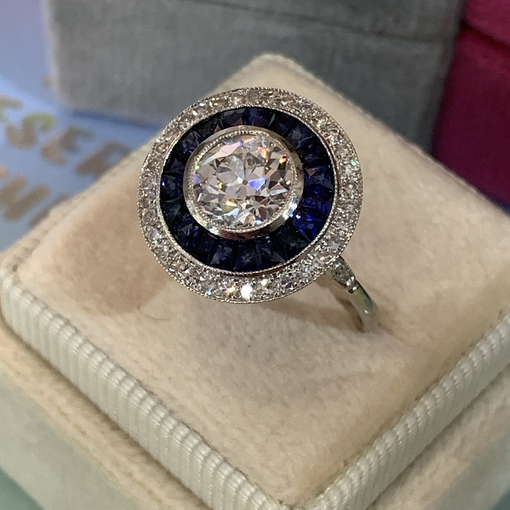 Divine Old Cut Diamond Sapphire Halo Ring