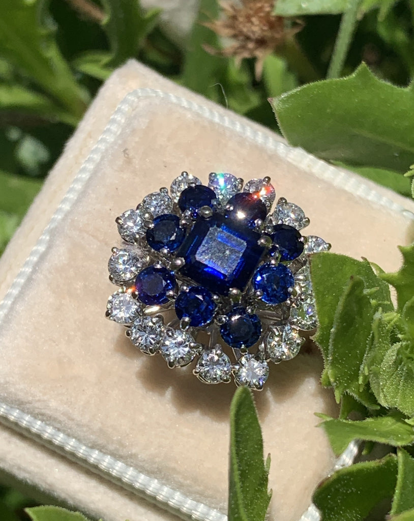 Vintage 5.10 CTW Blue Sapphire and Diamond Cluster Ring in 18K White Gold