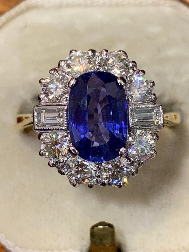 Sensational sapphire and diamond cluster
