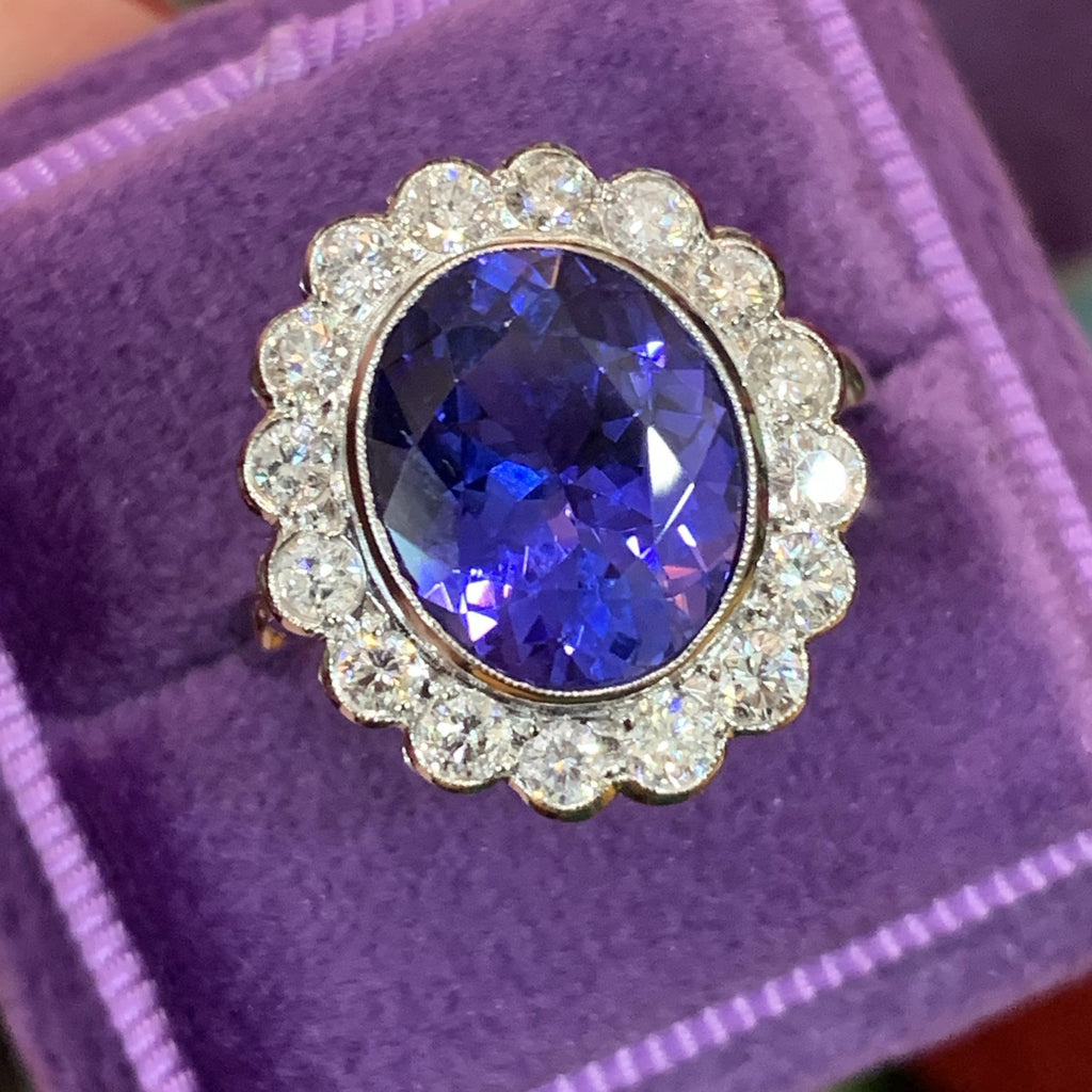 Beautiful Tanzanite and Diamond Cluster Ring