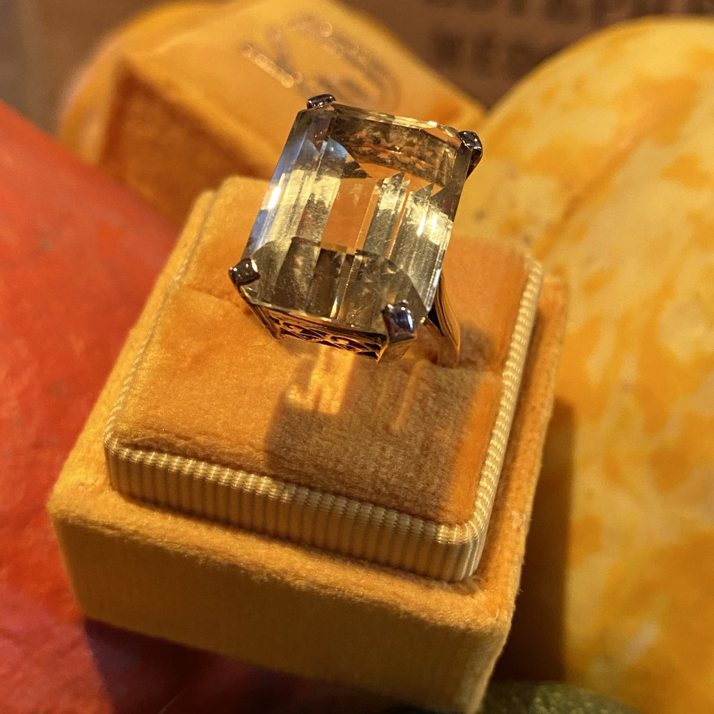 25 Carat Emerald Cut Citrine Ring in Yellow Gold