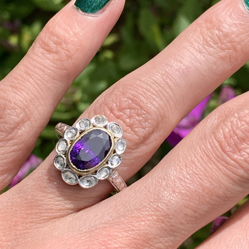 4.00 Carat Amethyst and Diamond Halo Ring