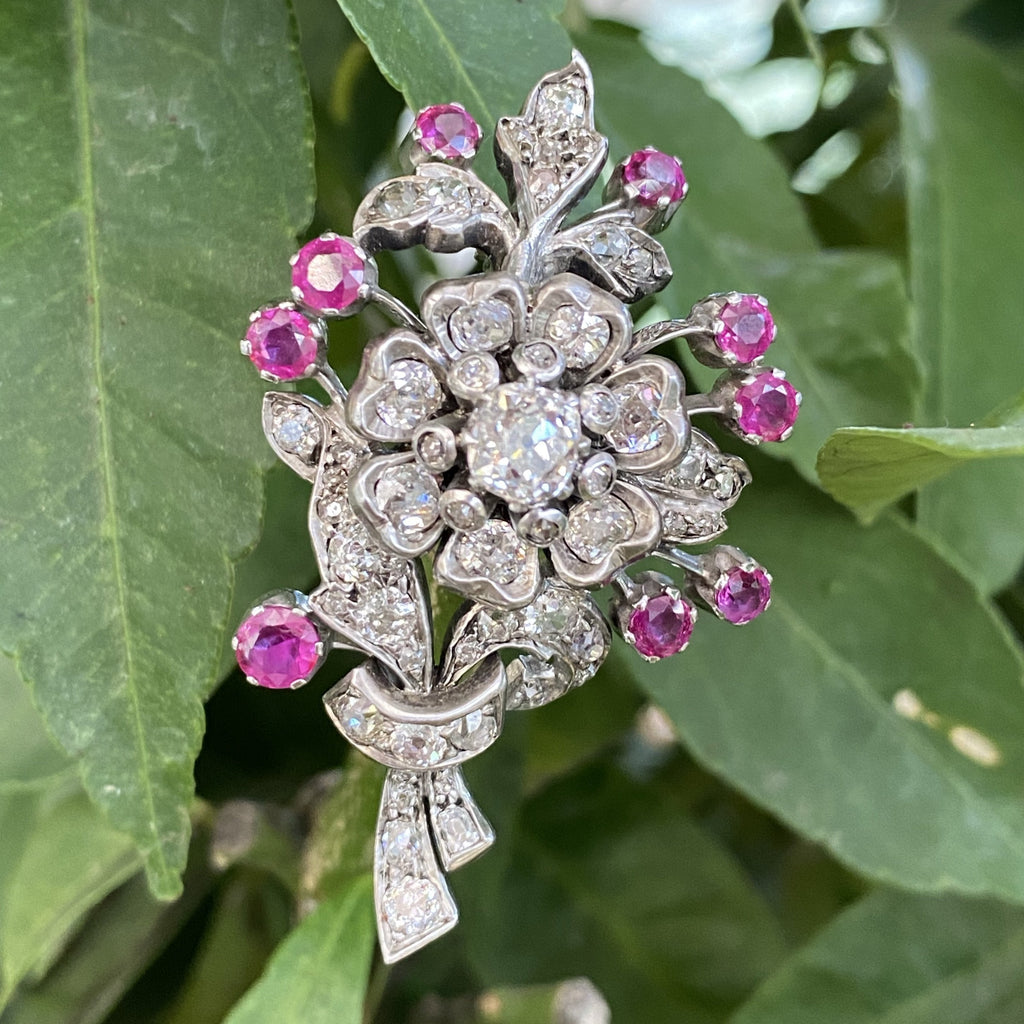 4.00 CTW Old Cut Diamond and Ruby Floral Antique Brooch in Platinum