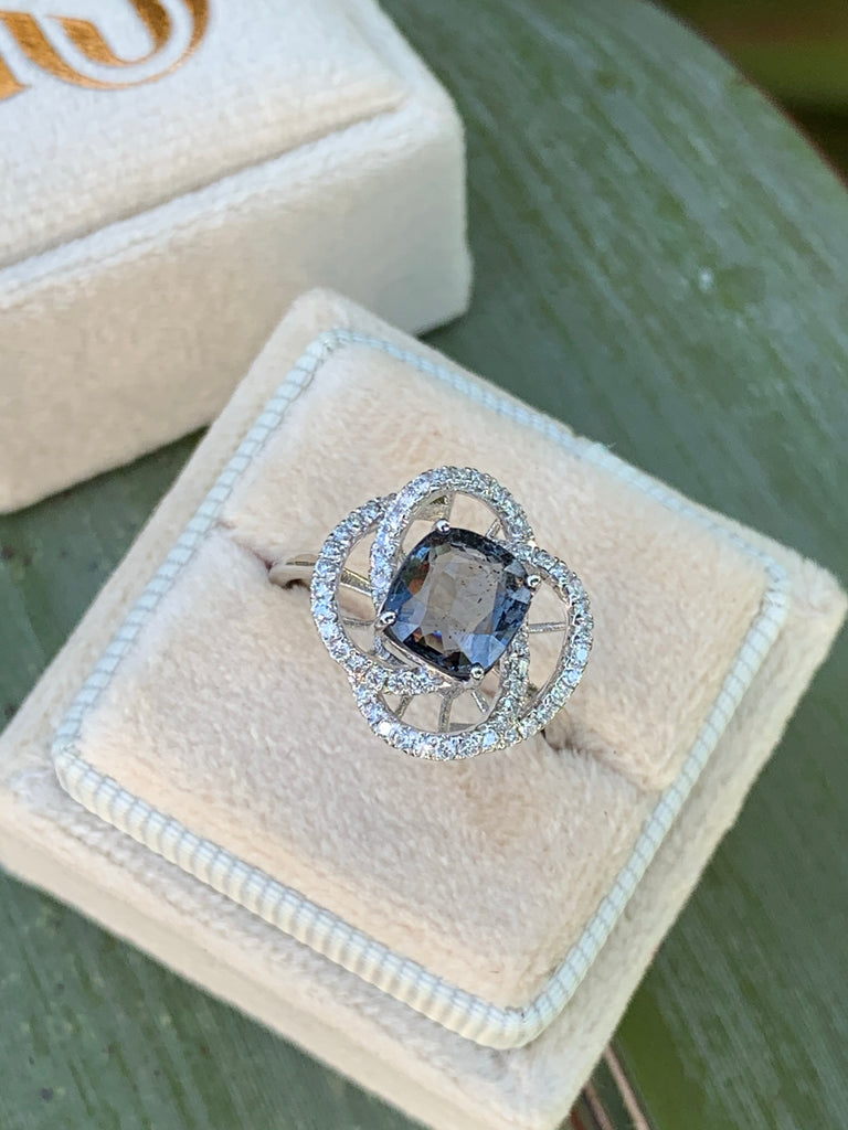 Katherine James Jewellery Blue Spinel and Diamond Ring