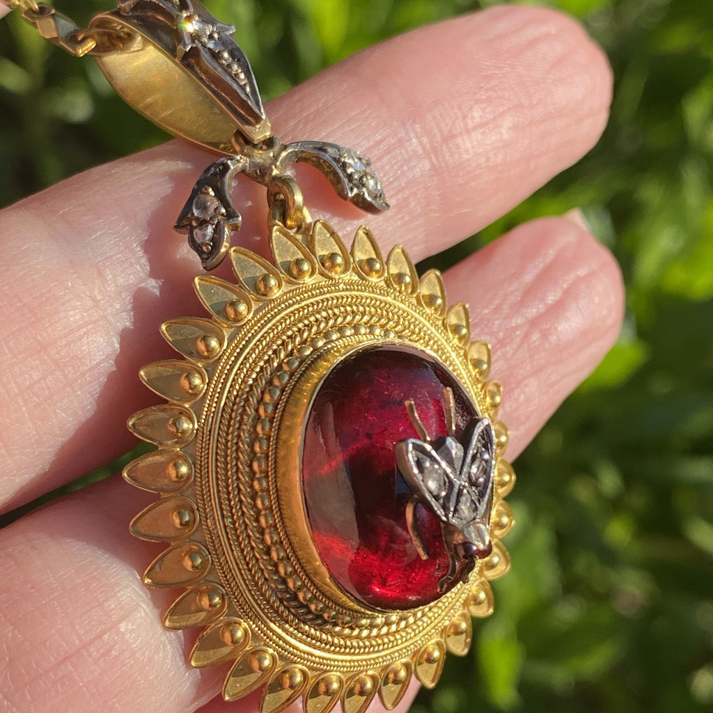 Antique Victorian Cabochon Garnet Necklace with Ruby and Diamond Fly in 18K Yellow Gold