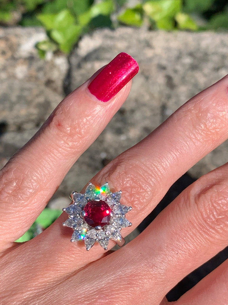 Burmese Ruby and Diamond Ring in 18K White Gold
