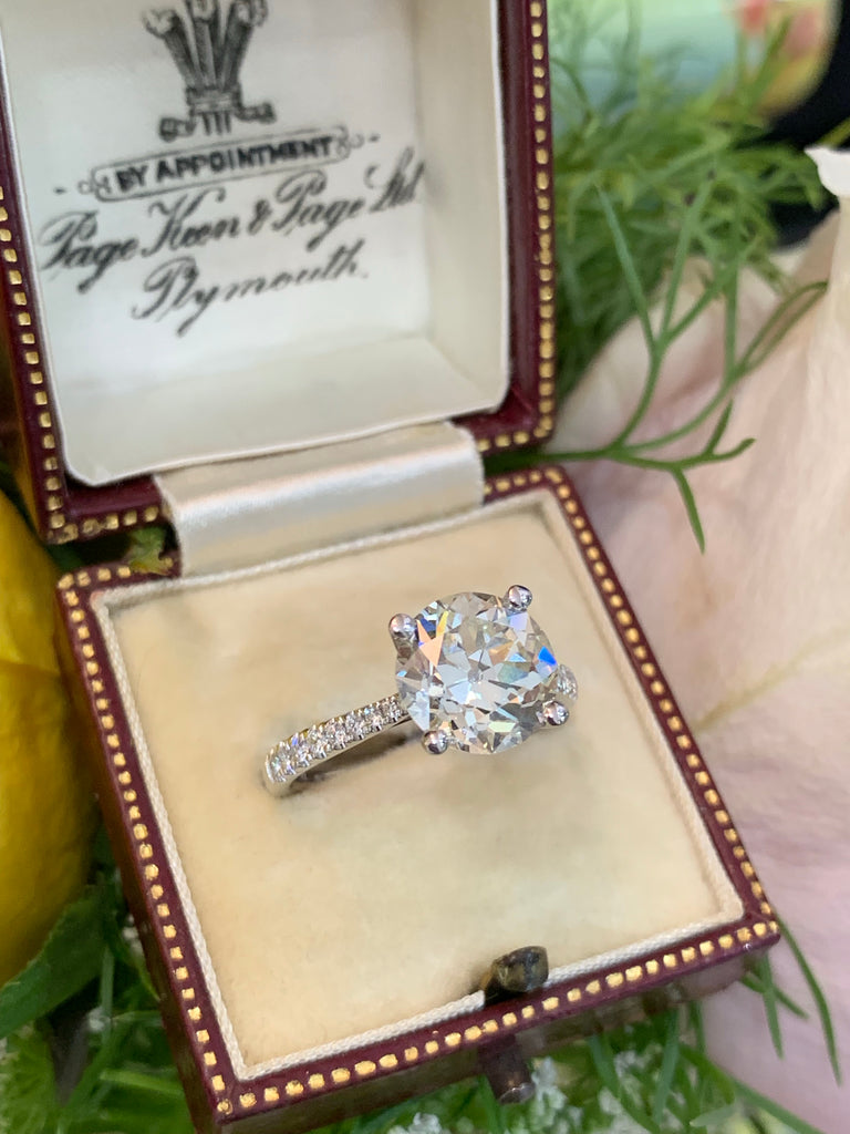 Katherine James Jewellery  Old Euro Cut Diamond Engagement Ring in 18K White Gold