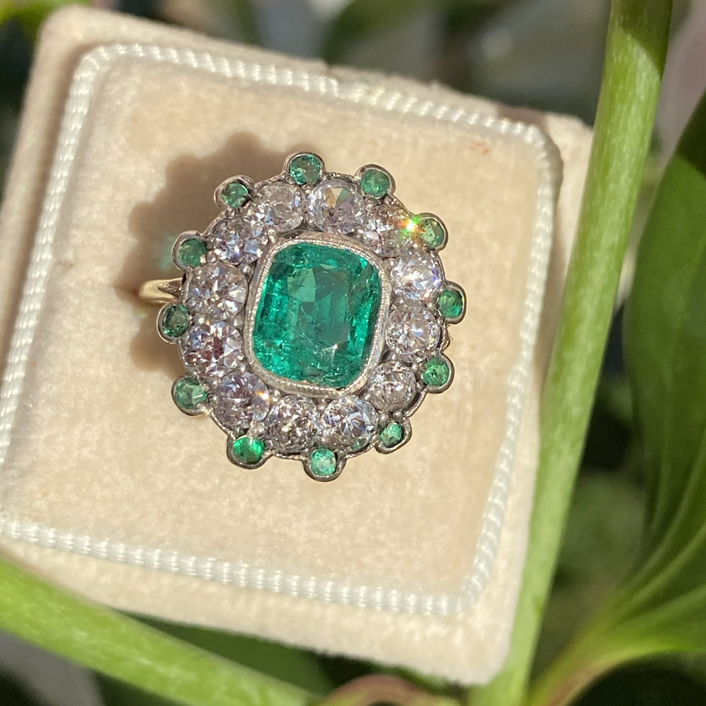 1.54 carat Colombian Emerald and Diamond Engagement Ring