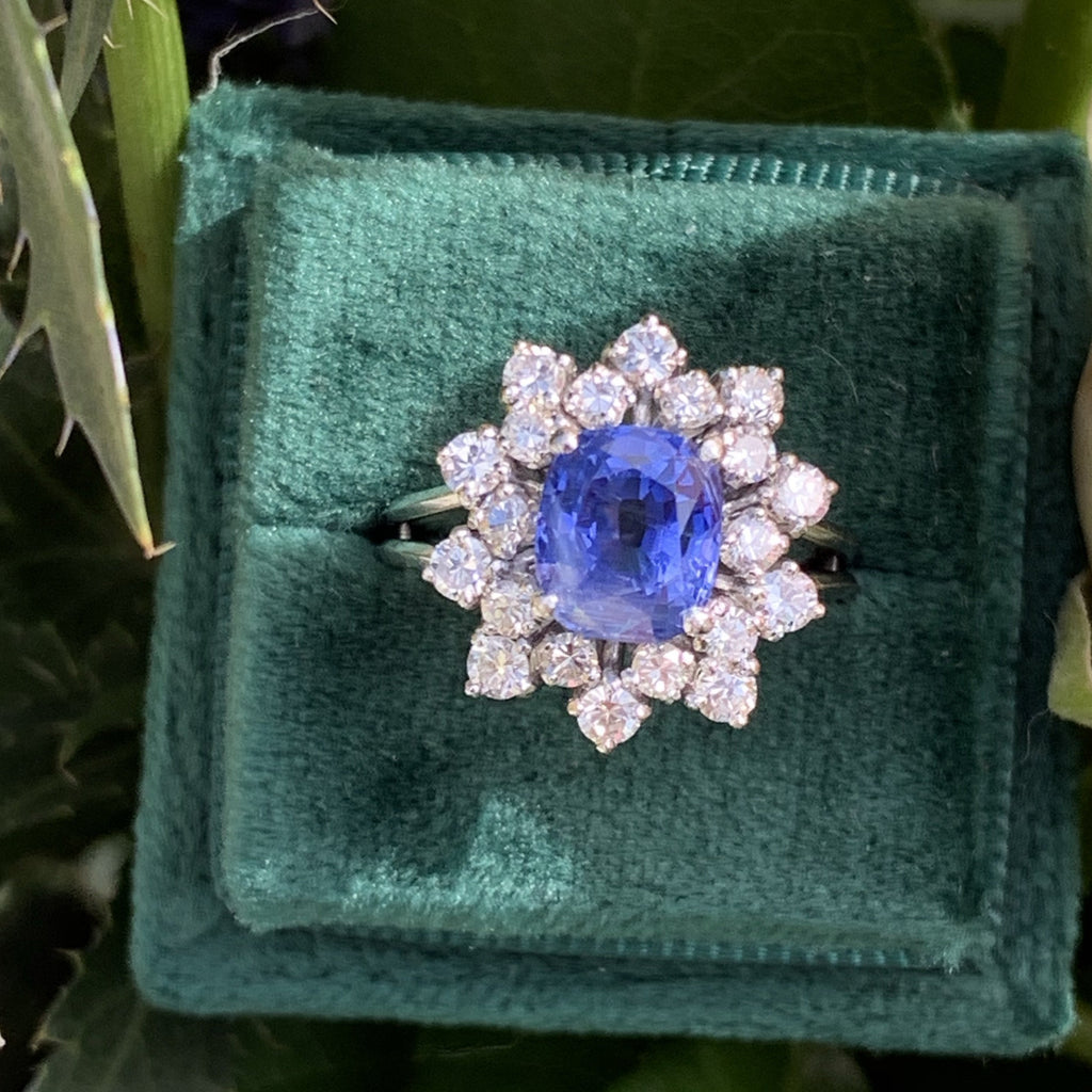 2.82 Blue Ceylon Sapphire and Diamond Halo Ring in 18K White Gold