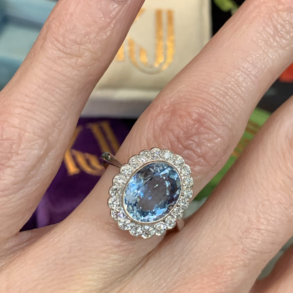 2.60 Carat Aquamarine and Diamond Halo Ring in Platinum