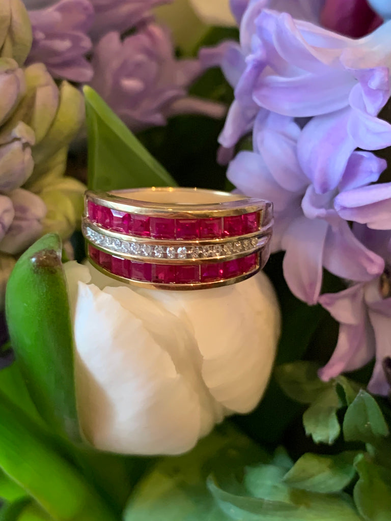 2.00 CTW Ruby and Diamond Half Eternity Band in Yellow Gold