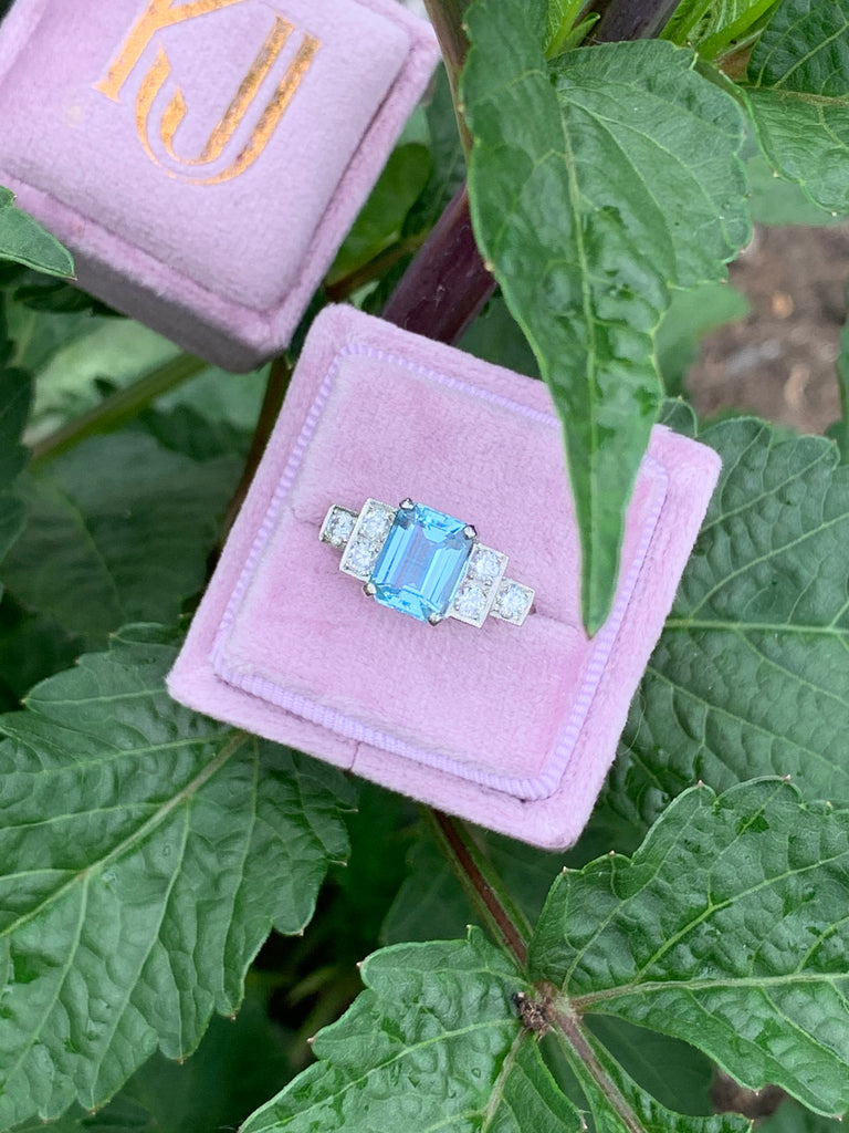 1.80 Carat Aquamarine and Diamond Art Deco Ring in Platinum