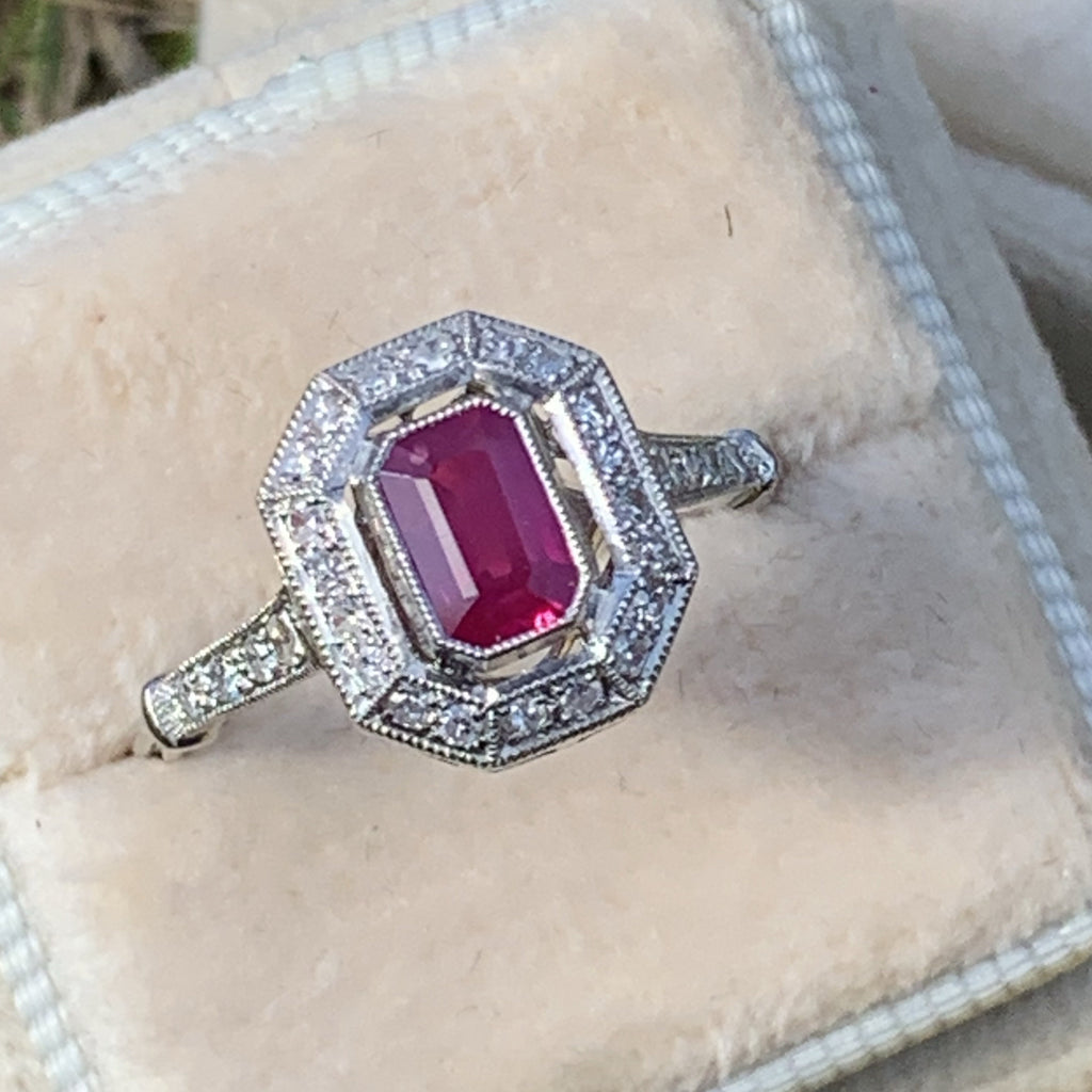 Ruby and Diamond Art Deco Ring in Platinum