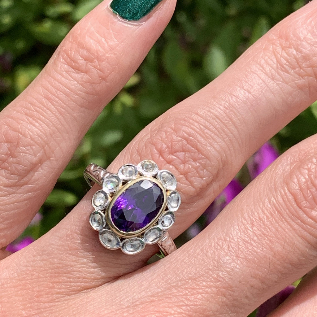 4.00 Carat Amethyst and Diamond Halo Ring in 18ct White Gold