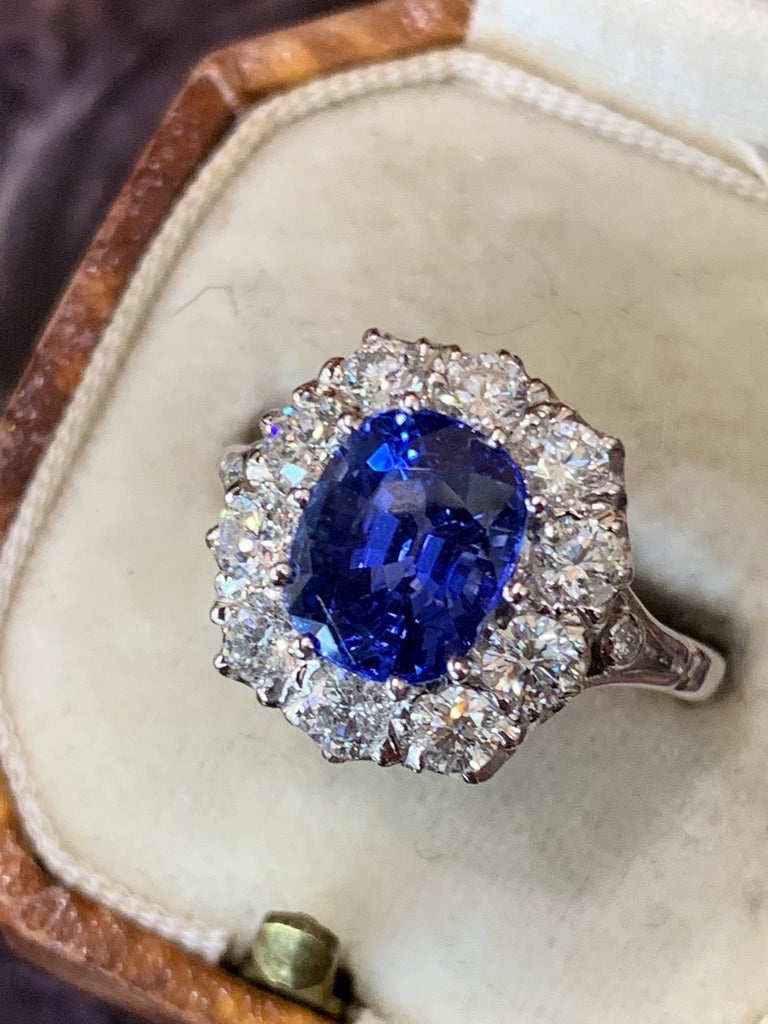 3.00 Carat Blue Ceylon Sapphire and Diamond Halo Ring in 18K White Gold