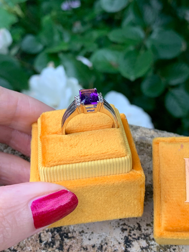 Striking Deco Amethyst and Diamond Ring