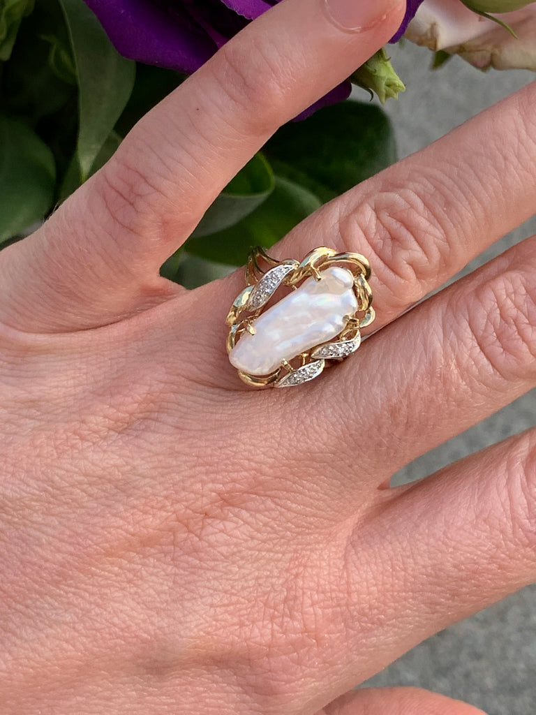 Vintage Baroque Pearl and Diamond Ring in 9K Yellow Gold