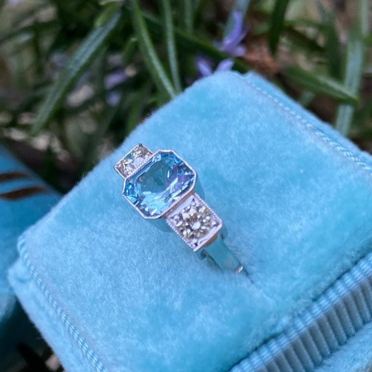 0.90 Aquamarine and Diamond 3-Stone Ring in Platinum