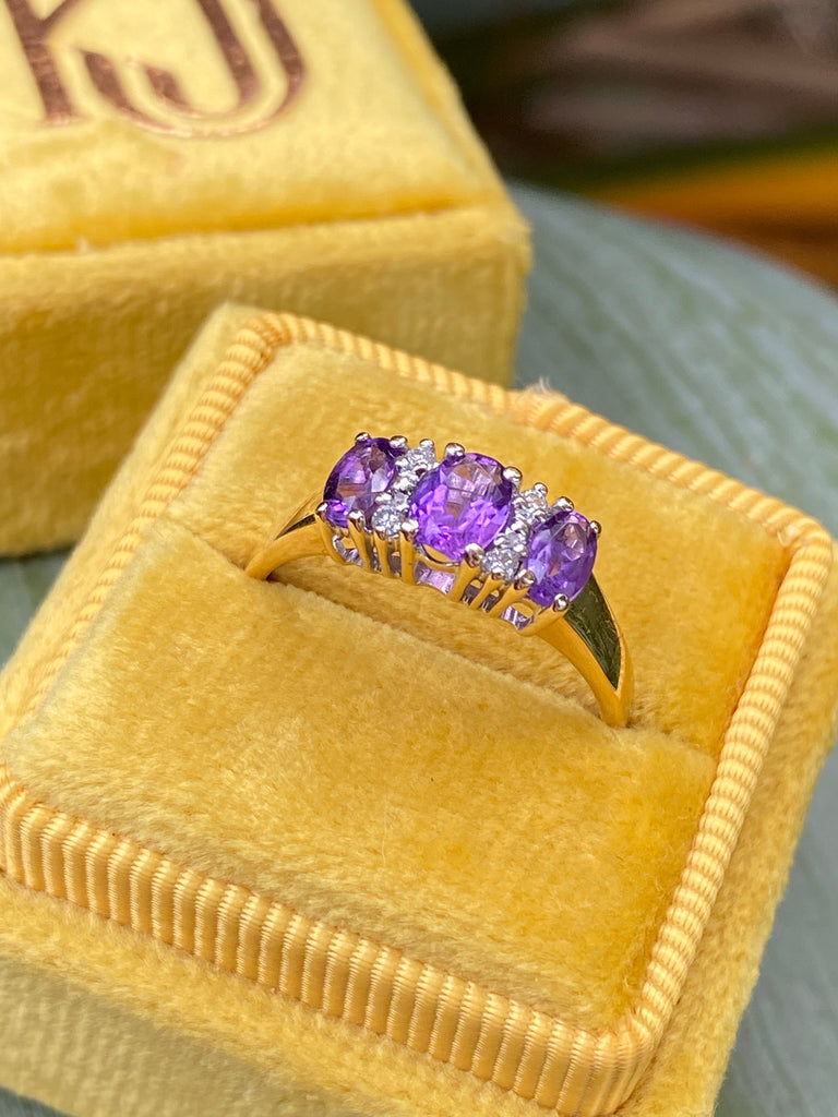 Amethyst and Diamond Ring in Yellow Gold