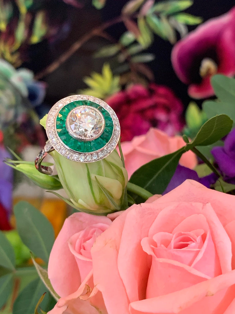 1.35 Carat Old Cut Diamond and Emerald Halo Ring in 18K White Gold