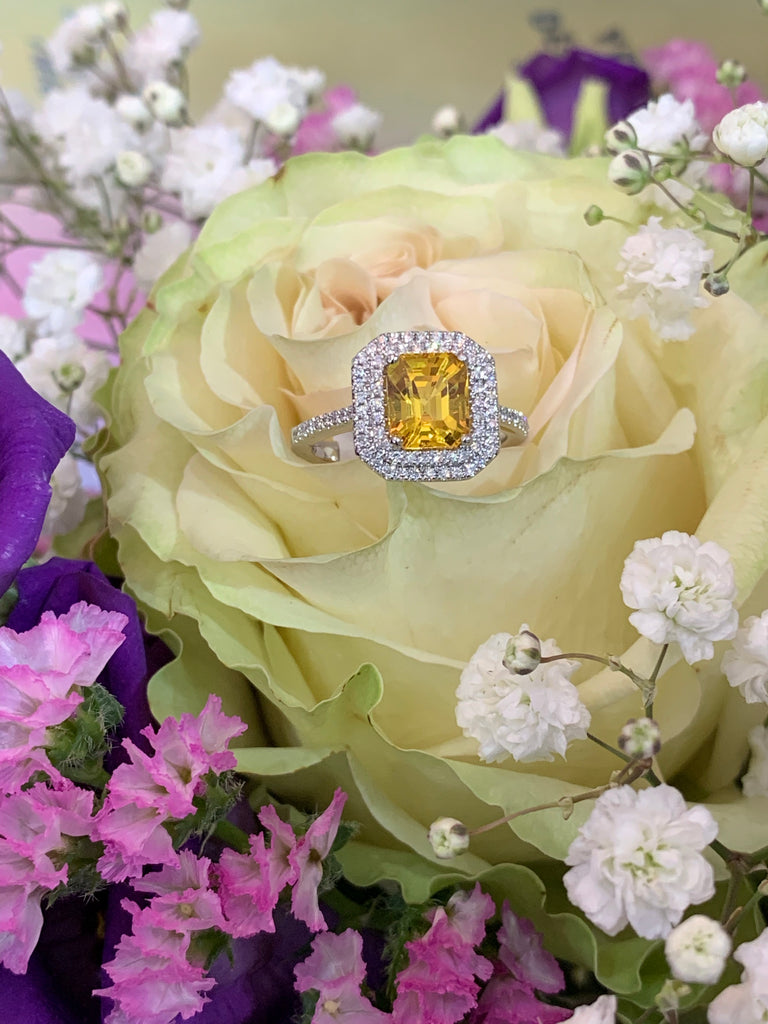 Stunning Yellow Sapphire and Diamond Halo Ring