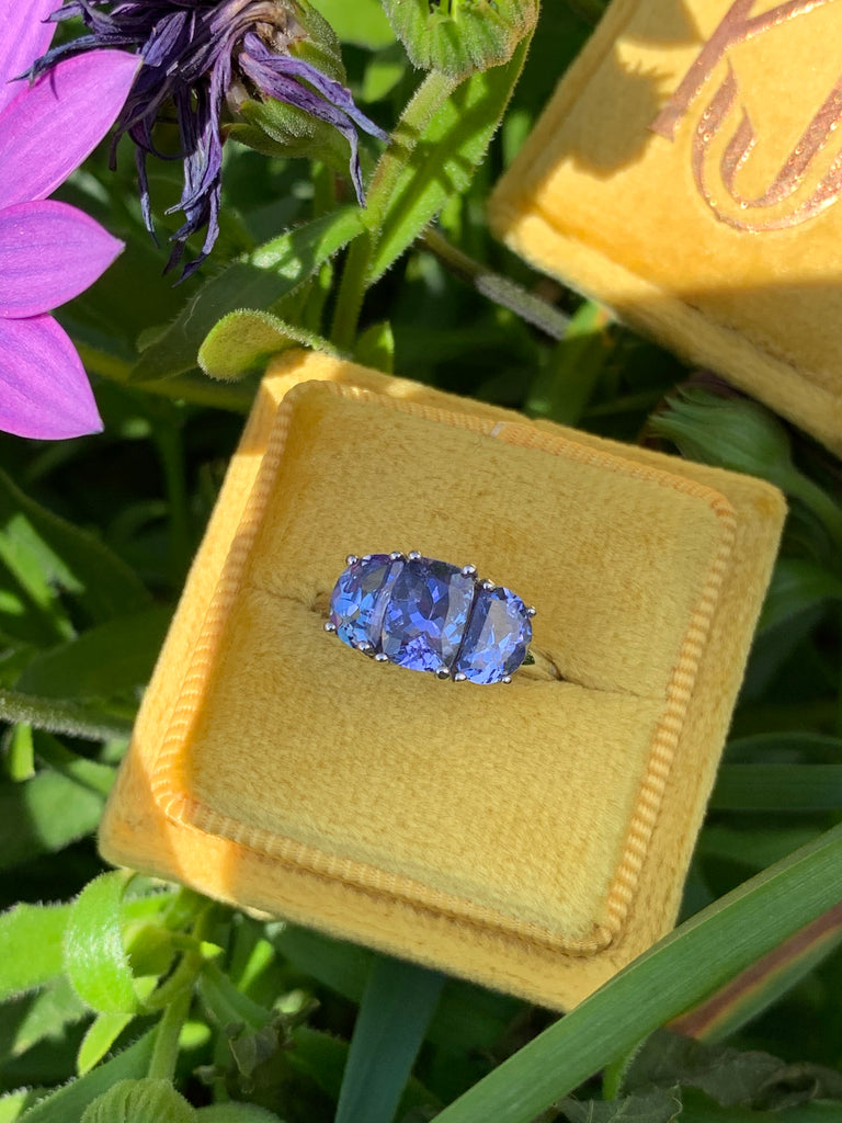 Wonderful Tanzanite Three Stone Ring