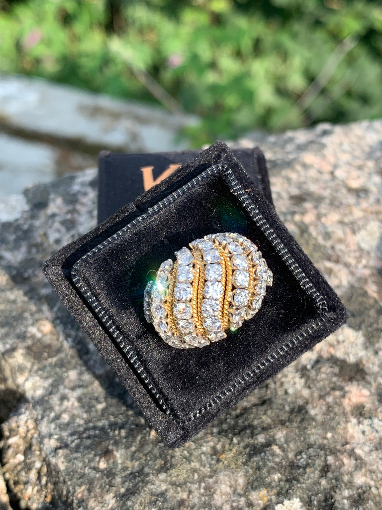 Vintage Vourakis Diamond Bombe Ring in Platinum and 18K Yellow Gold