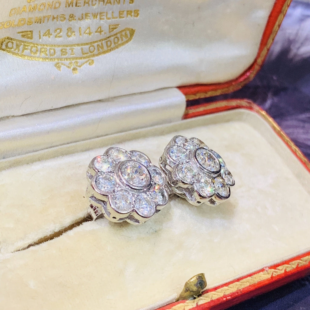 2.40 CTW Diamond Daisy Cluster Earrings in Platinum