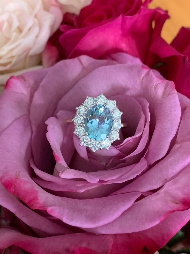 2.50 Carat Aquamarine and Diamond Halo Ring in 18ct Gold