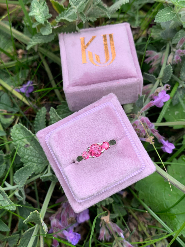 Pink Tourmaline Trilogy Ring in 18ct White Gold