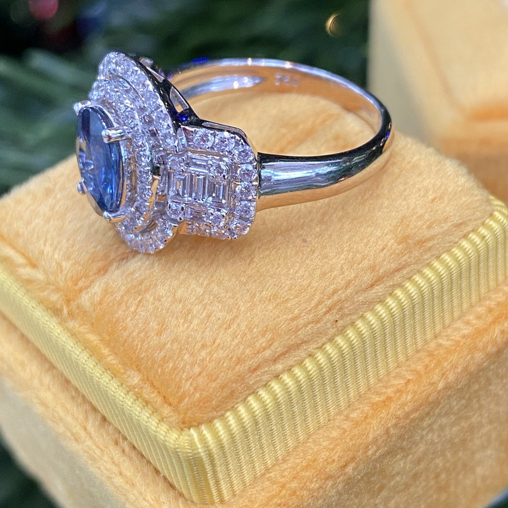 1.41 Carat Blue Sapphire and Diamond Halo Engagement RIng