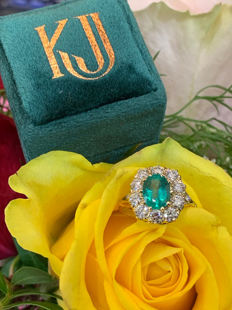 1.65ct Emerald and 1.25ct diamond ring in 18ct yellow