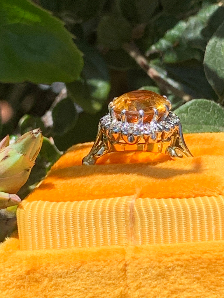 Oval-Cut Citrine and Diamond Halo Ring in 18ct Yellow Gold