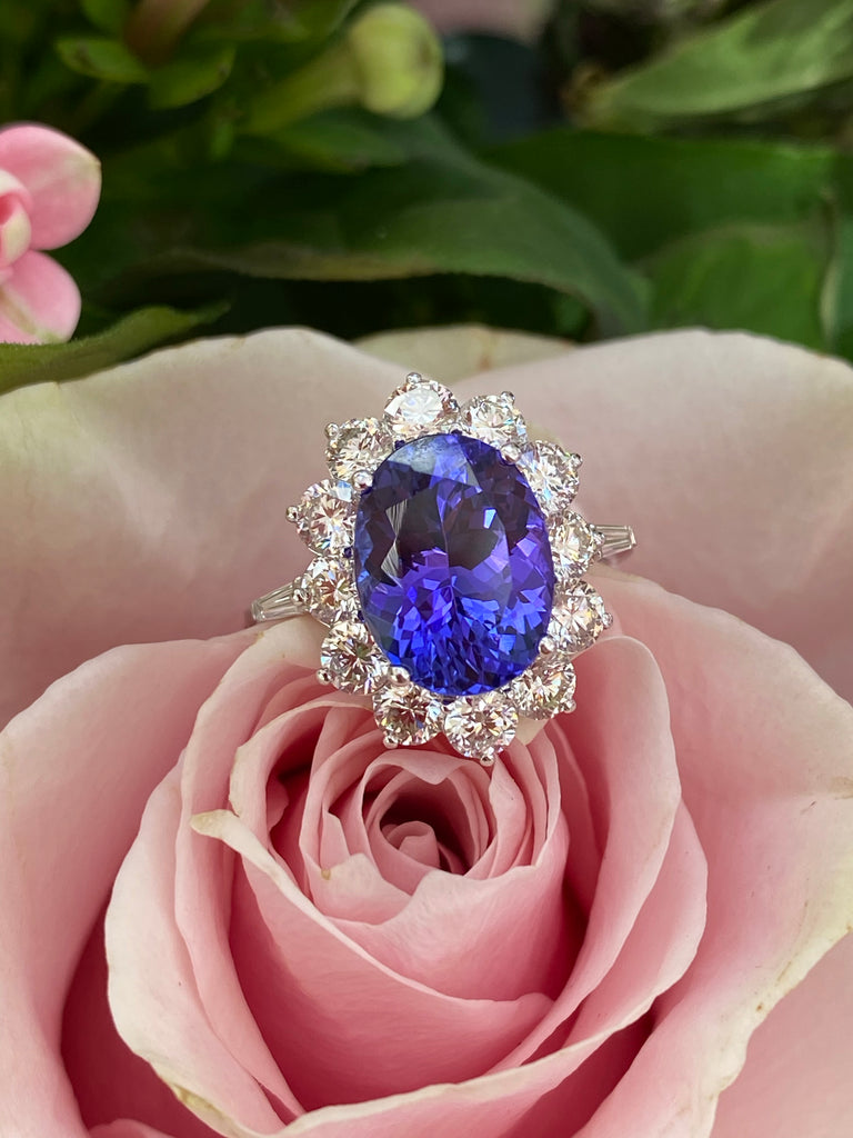 4.54 Carat Oval-Cut Tanzanite and Diamond Ring in 18K Gold