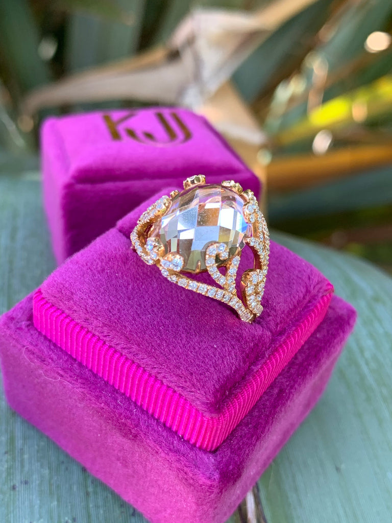 7.76 Carat Morganite and Diamond Ring