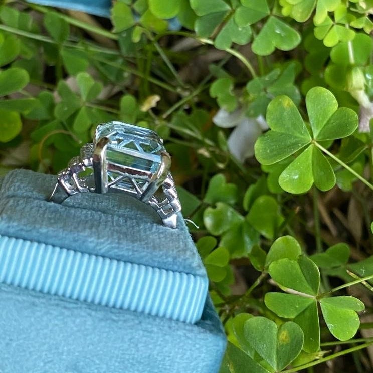9 Carat Aquamarine and Diamond Ring in Platinum